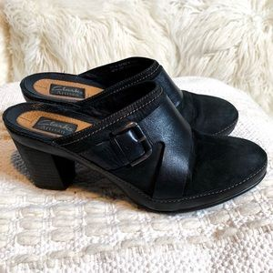 Clark's Artisan Leather & Suede Buckle Clog Mules